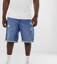 Only And Sons Denim Shorts In Mid Wash Blue