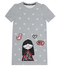 Little Marc Jacobs Embroidered Cotton Dress Grey