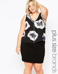 Carmakoma Plus Size Haslam Dress With Floral Print Overlay Flowerboom