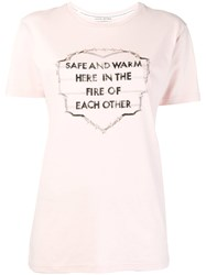 Each X Other Embroidered And Printed Slogan T Shirt Pink And Purple