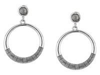 Sam Edelman Etched Gypsy Hoop Earrings Rhodium Earring Gray