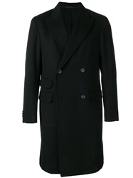 Z Zegna Man Double Breasted Wool Coat Black