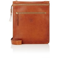Ii Bisonte Men's Zip Front Crossbody Bag Brown