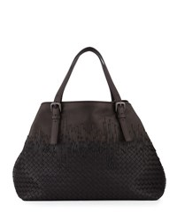Bottega Veneta Intrecciato Waves Leather Tote Bag Black