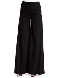 Zac Posen Holly Mid Rise Wide Leg Pants Onyx Black