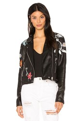 Blank Nyc Embroidered Faux Leather Jacket Black