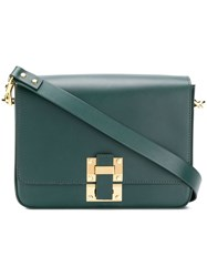 Sophie Hulme Foldover Flap Buckled Boxy Satchel Green