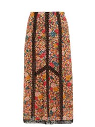 Etro Lace Insert Floral Print Crepe Skirt Pink Multi