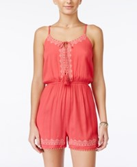 American Rag Sleeveless Embroidered Romper Only At Macy's Coral