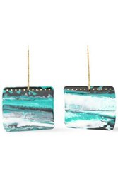 Missoni Woman Burnished Gold Tone Printed Resin Earrings Ivory