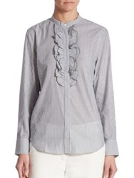 Brunello Cucinelli Striped Ruffle Top