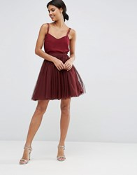 Asos Wedding Tulle Mini Prom Skirt With Multi Layers Oxblood Red