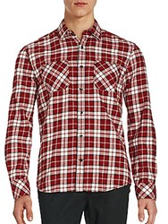 James Campbell Long Sleeve Plaid Button Down Shirt Scarlet