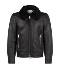 Burberry Ravencroft Shearling Motorcycle Jacket Male Black