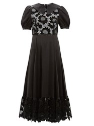 Shrimps Morpheus Lace Bodice Puff Sleeve Dress Black