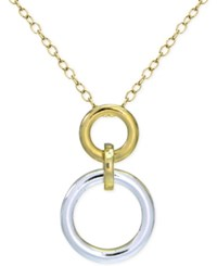 Giani Bernini Two Tone Circle Pendant Necklace In Sterling Silver And 18K Gold Plated Sterling Silver Only At Macy's Two Tone