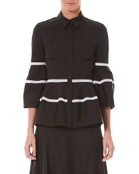 Carolina Herrera Bell Sleeve Button Front Shirt With Lace Stripes Black Pattern