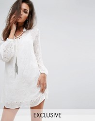 Religion Relaxed Smock Dress In Sheer Fabric With Chain Tassel Ties White