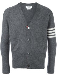 Thom Browne Striped Detailing V Neck Cardigan Grey