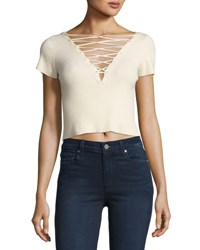 Alexander Wang Short Sleeve Lace Up Crop T Shirt Off White