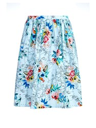 Yumi Tropical Flower Map Print Skirt Blue