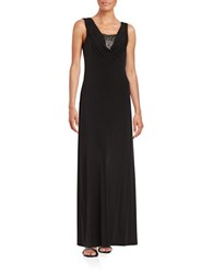 Calvin Klein Shimmer Accented Illusion Gown Black
