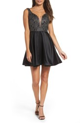 La Femme Women's Mesh Plunge Skater Dress Black