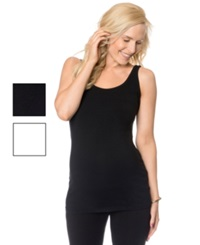 Bumpstart Wide Strap Scoop Neck Solid Maternity Tank 2 Pack Black White