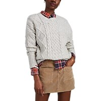 Nsf Shredded Cable Knit Wool Blend Sweater Gray