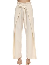 Cult Gaia Knotted Wool Blend Pants Beige