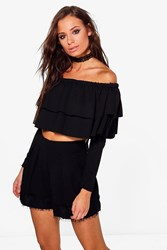 Boohoo Isa Double Frill Off The Shoulder Crop Black