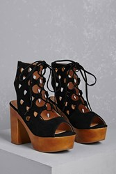 Forever 21 Yoki Cutout Caged Clog Heels Black