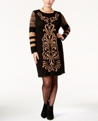 Ny Collection Plus Size Jacquard Sweater Dress Tan Black