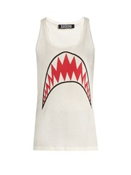 Rockins Shark Print Cotton Tank Top White