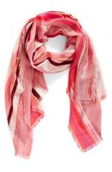Nordstrom Women's Artist Ombre Cashmere And Silk Scarf Pink Combo