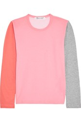 Comme Des Garcons Color Block Cotton Jersey Top Pink