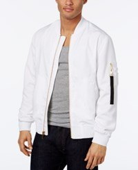Sean John Men's Pique Sleeve Bomber Jacket Bright White