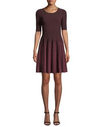 Milly Scoop Neck Elbow Sleeve Fit And Flare Metallic Pleated Dress Bordeauxberry
