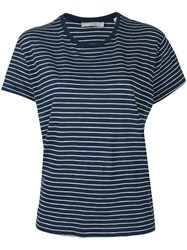 Vince Striped Relaxed T Shirt Blue