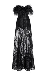 Elie Saab Feather And Sequin Embroidered Strapless Gown Black