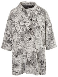 Chesca Floral Jacquard Coat Ivory