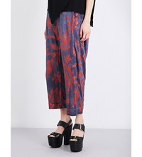 Anglomania Elisa High Rise Poplin Trousers Red Blue