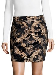 Goldie Embroidered Mini Skirt Black