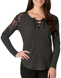 Democracy Lace Accented Knit Top Charcoal