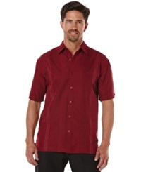 Cubavera Big And Tall Ombre Embroidered Short Sleeve Shirt Cabernet