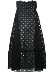 Wunderkind Mesh Dot Tent Dress Women Silk Cotton 38 Black