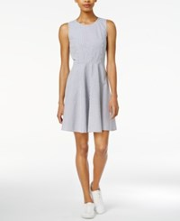 Armani Exchange Cotton Seersucker Fit And Flare Dress Only At Macy's Stripe Navy White