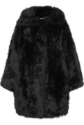 Balenciaga Swing Oversized Faux Fur Coat Black