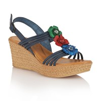 Lotus Selina Wedge Sandals Navy