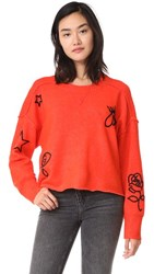 Wildfox Couture Alchemy Icons Gate Sweater Flecked Inferno Red